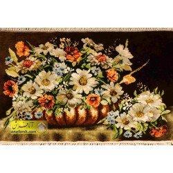 تابلو فرش گل و گلدان مسی کد 11561