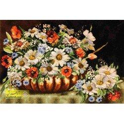 تابلو فرش گل و گلدان مسی کد 11562