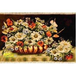 تابلو فرش گل و گلدان مسی کد 11563