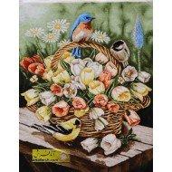 تابلو فرش سبد گل و پرنده کد 11572