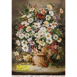 تابلوفرش گل و گلدان چوبی کد 11573