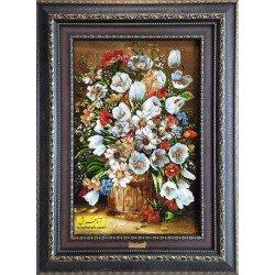 تابلوفرش گل و گلدان چوبی کد 11590