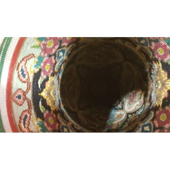 کوزه فرش حجمی ابریشمی  زمینه سرمه ای