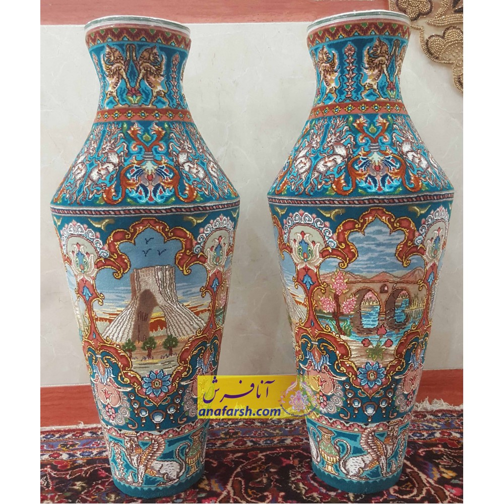 Silk Carpet Jug Mass- Aqua Border